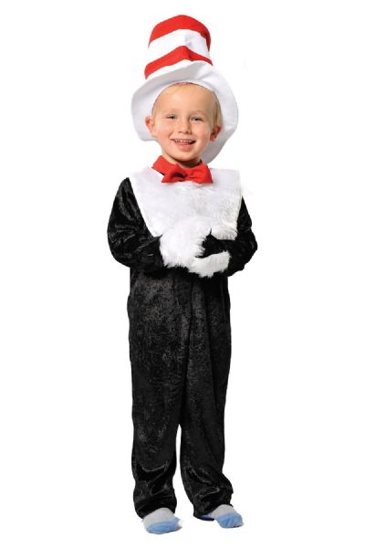 Children's Kids Boys Girls Cat In The Hat Dr Seuss Fancy Dress Up Costume